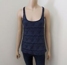 Abercrombie Women Floral Lace Overlay Tank Top Size Small Shirt Navy Blue