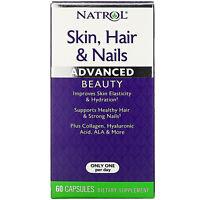 Natrol Skin Hair  Nails Advanced Beauty 60 Capsules Egg-Free, Fish Free,