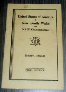 Vintage 1932 USA vs NSW Sydney Tennis Championships Programme Jack Crawford