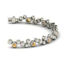 1.05 Ctw Genuine Citrine and SI Diamond 14k White Gold Designer Tennis Bracelet