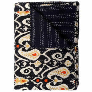 Halloween Ikat Quilt in black paisley Kantha Quilt Blanket Boho Quilted Bedding