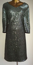 WOW BN MONSOON BLACK SILVER OMBRE SEQUIN MBELLISHED PARTY EVENING DRESS 18 £99!