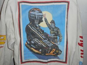Vintage 80s 90s Sam Bass Artwear Nascar Rusty Wallace LS Rugby Polo Shirt XL