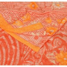 Sanskriti Vintage Peach Saree Moss Crepe Printed Sari Soft Decor Craft Fabric