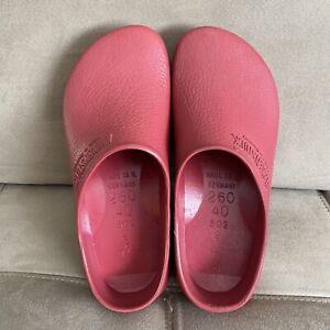 Birkenstock Birkis Rubber Slip On Clogs Garden Shoes Red US Size L9 M7 Unisex