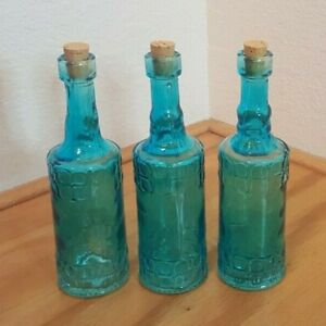 SET OF 3 DECORATIVE SAPPHIRE EMERALD BLUE CORKED BOTTLES