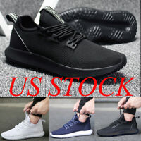 Mens Running Shoes Mesh Breathable Casual Sports Walking Athletic Black Sneakers