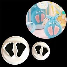 2 Pcs Baby Feet Fondant Cutter Cake Mold Sugar Craft Bakeware Decorating Tool