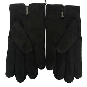 Coach Gloves Mens 100% Leather Nubuck Cashmere Lined, Mahogany 83897, $128