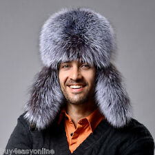 Men Winter Real Fox Fur Russian Hat Trapper Ushanka Cossack Warm Ski Furry Cap