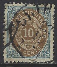 Danish West Indies, Scott #20, 10c Numeral of Value, P13, Used