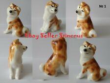 Akita mini figurine White & Red dog figurines Author's Porcelain New