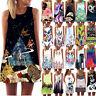 Vintage Women Loose Summer Sleeveless 3D Floral Print Bohe Tank Mini Dress HY
