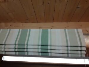 Roman Blind, Laura Ashley Awning Stripe Hedgerow Fabric  (Made to measure)