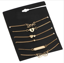 6Pc Fashion Women Ladies Gold Plated Bow Love Bracelet Ankle Chain Party Jewelry