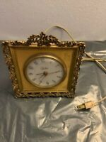 Vintage Globe USA Electric Gold Metal CLOCK Alarm RARE WOW