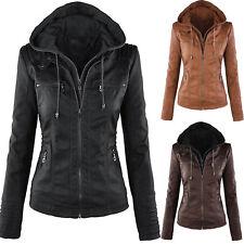 Women PU Leather Winter Slim Hooded Parka Jacket Biker Motor Coat Warm Outwear