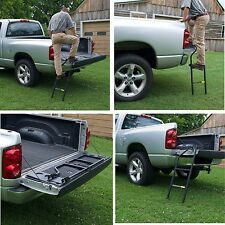 Tailgate Ladder Step Up Truck Pickup Folding Steel Heavy Duty Bed Stairs Cargo