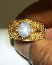 18K NATURAL UNTREATED STAR SAPPHIRE AND DIAMOND RING SIZE 10.25 9.45 GRAMS G Vvs