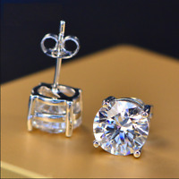 Genuine Moissanite VVS  0.50-2.5 Ctw Round Stud Earrings 14k White Gold Plated
