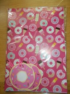 PINK DOUGHNUT & LOLLIES GIFT WRAP AND TAG SET - 2 SHEETS & 2 TAGS