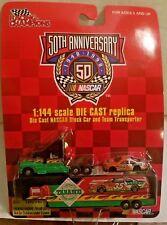 NASCAR 50TH ANNIVERSARY 1948-1998 DIE CAST TABASCO STOCK CAR & TEAM TRANSPORTER