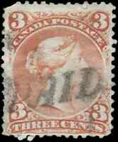 Canada #25 used faulty 1868 Queen Victoria 3c red Large Queen Straightline PAID