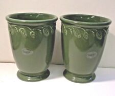"Longaberger Pottery GREEN LEAF VASES set of 2 with labels - 5"" tall"