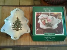 """NEW SPODE Ivory CHRISTMAS TREE Green Red Yellow Holly Tree-Shaped Dish 8"""""""