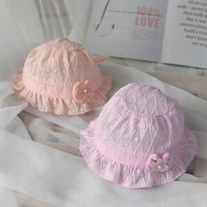 Lace Flower Baby Sun Hat Summer Breathable Newborns Girls Bonnet Cap Bows Solid
