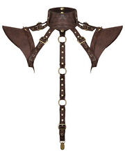 Punk Rave Harness Shoulder Armour Brown Faux Leather Steampunk Dieselpunk Gothic