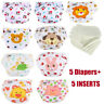 5 Diapers+5 Inserts Adjustable Reusable Washable Cloth Nappies For 3-15kg Baby