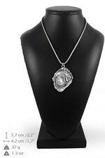 Tibetan Mastiff - silver plated necklace on silver cord, Art Dog Usa