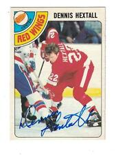 Dennis Hextall 1978-79 OPC AUTOGRAPH HOCKEY CARD HAND SIGNED DETROIT RED WINGS