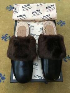 New Gucci Mens Shoes Black Leather Slipper UK 5.5 US 6.5 EU 39.5 Mule Fur Bee