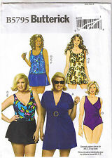 Easy 1-Piece Swimsuit Top Cover Up Briefs Skirt Sewing Pattern Plus 26 28 30 32