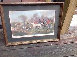 """BREAKING COVER"" J.F. HERRING PRINT FRAMED HORSES, FOX & HOUNDS HUNTING PARTY"