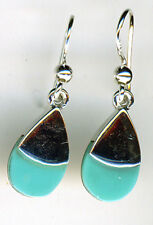 "925 Sterling Silver Turquoise Small Drop / Dangle Earrings Length 30mm (1.1/8"")"