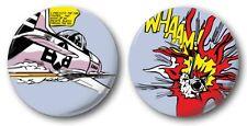 "ROY LICHTENSTEIN WHAM! - 2x 25mm 1"" Button Badges - Novelty Cute Pop Art Comic"