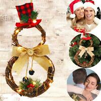 Christmas Wreath Light Up LED Pre Lit wreath Door Wall Party Brithday Decor Top