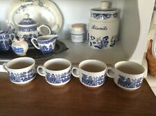 Churchill (England) Blue Willow Large Cups/Mugs - Set of 4