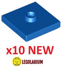 Lego Teile NEU - 10 Stück Platte 2x2 mit Nut und 1 Nieten 87580 blau