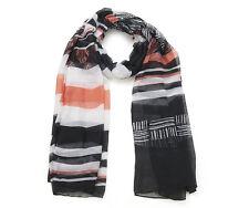 FOULARD  écharpe INTRIGUE à rayures noir/orange 90 x180 cm