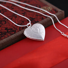 "Fashion Women 925 Silver Plated Locket Heart Photo Pendant Necklace 17"" Gift"