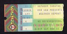 Original 1978 Weather Report Jaco Pastorius concert ticket stub Orpheum Jazz