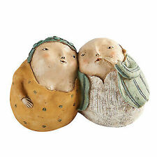 Cute Older Couple Sculpture Small Figurine Man & Woman Whispering Sweet Nothings