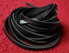 "67"" long 8mm wide BLACK LEATHER FLAT CORD LACE STRAP STRIP 2.5mm thick"