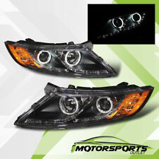 [CCFL Halo+LED Parking]For 2011 2012 2013 Kia Optima Projector Black Headlights