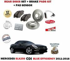 FOR MERCEDES SLK250 CDI BLUE EFF 2011-> REAR BRAKE DISCS SET + PADS + SENSOR KIT