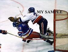 RARE WILD ACTION Billy Smith NY Islanders NHL Hockey Fight Photo Goalie Mask